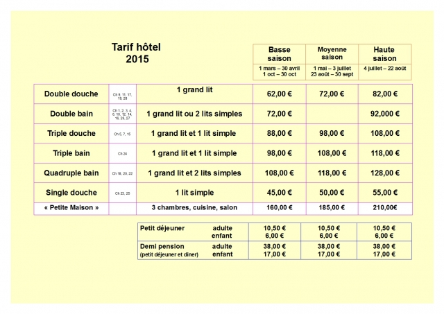 tarif site carmel 2015
